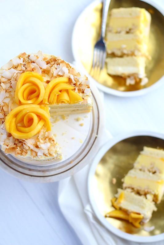 coconut mango layer cake