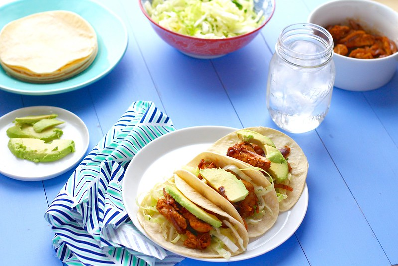 Chicken Fajitas with Cabbage Slaw