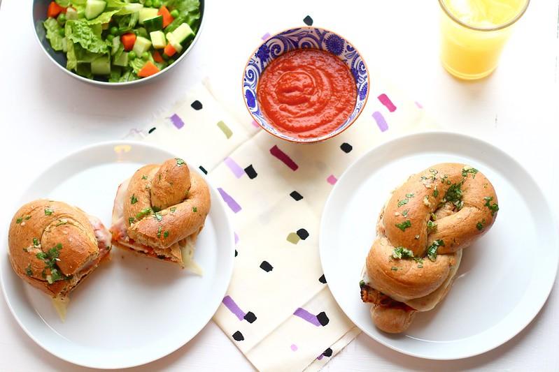 Garlic Knot Chicken Parmesan Sandwiches