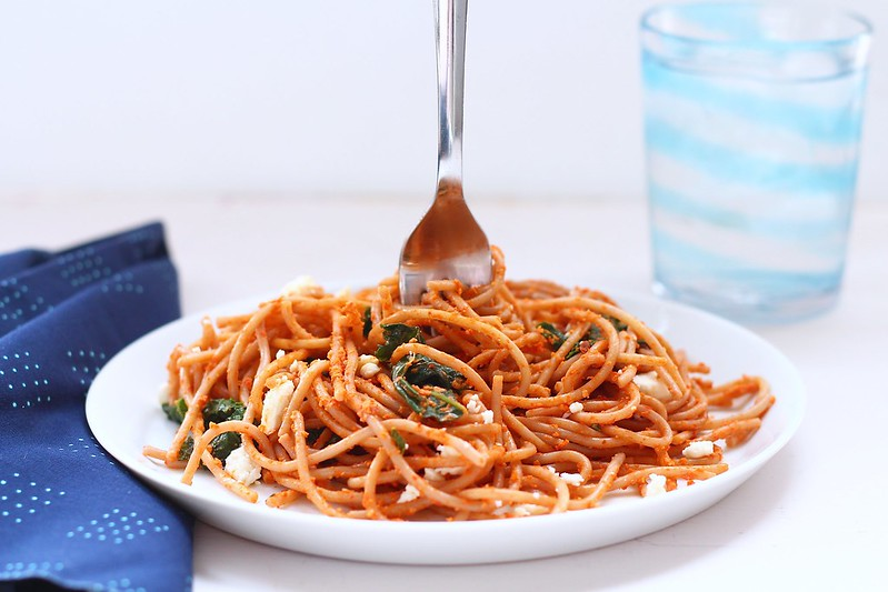 Roasted Red Peper Pasta with Kale