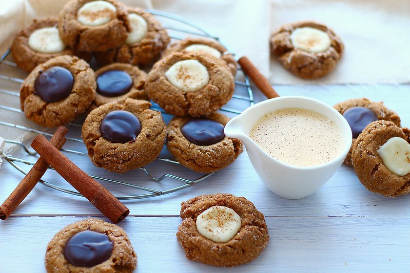 Chocolate and Eggnog thumprint cookies