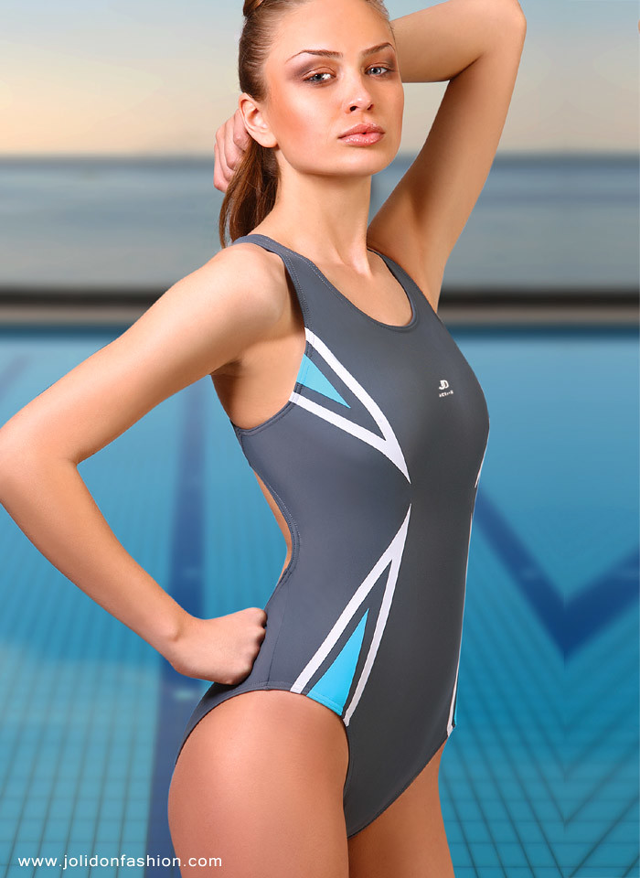 6edc2403667 Designer Sport Performance Silver One-Piece Swimsuit by Jolidon
