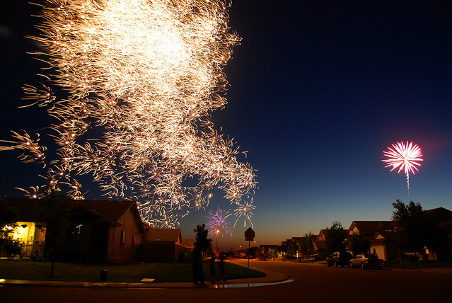 fireworks, 4th, july, suburbs