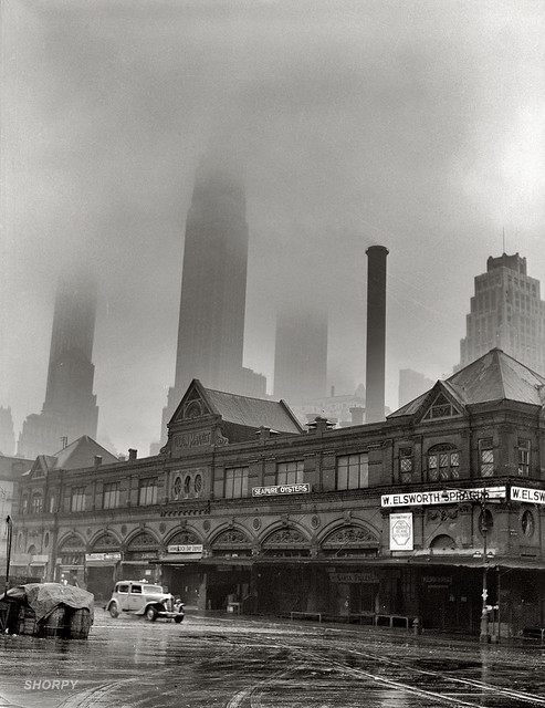 A foggy morning at Fulton fish market, New York, 1943, by Gordon Parks