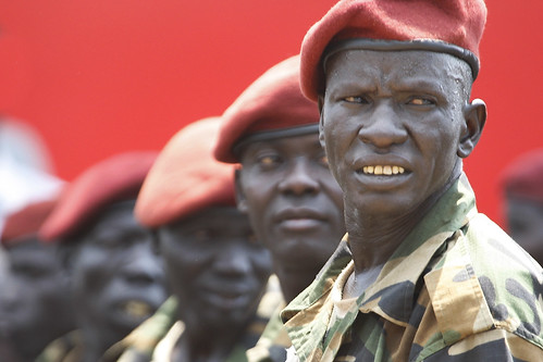 Presidential Guard in South Sudan. Photo by Steve Evans.
