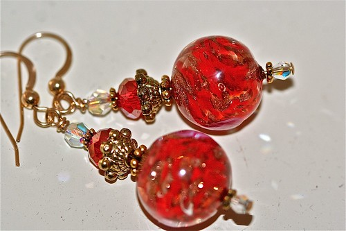 Red Roses Lampwork Earrings, 14K Gold Filled