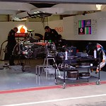 2011 British Grand Prix: Silverstone - Vodafone McLaren Mercedes Pit Garage - Jenson Button