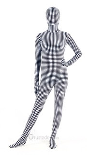 black white dots lycra zentai suit