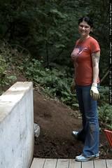 rachel, building rock walls in the back yard