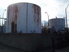 storage tank, silo, industry, cooling tower, iron, factory,