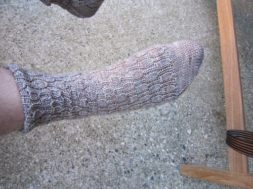 Undulating rib socks for Doran - side view