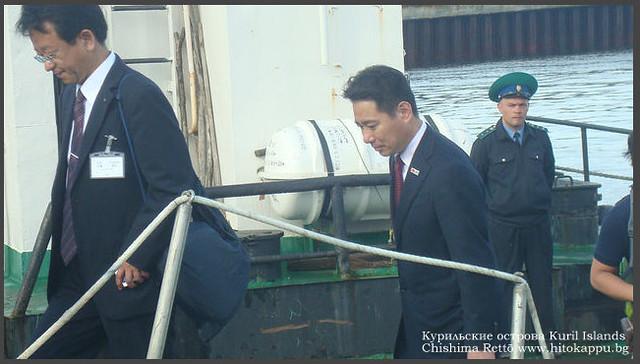 Maehara Seiji 前原 誠司 visited Iturup Kuriles. August 6, 2011