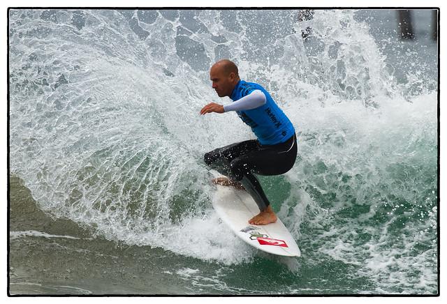 Whoa: Kelly Slater lands a 540 on a surfboard