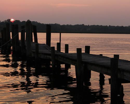 sunset reflection water canon evening dock dusk northcarolina newbern trentriver t1i