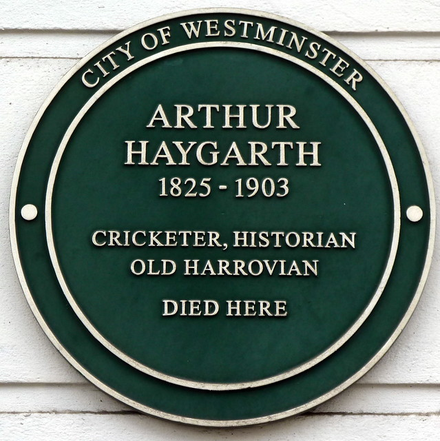 Arthur Haygarth green plaque - Arthur Haygarth 1825-1903 Cricketer, historian, Old Harrovian died here