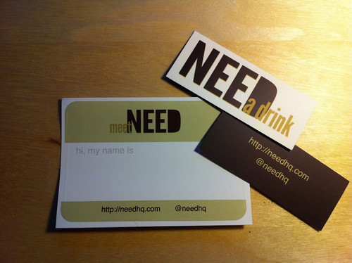 Meet Need attendee name labels and drink vouchers