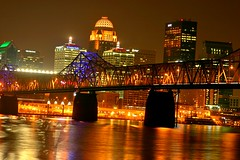 Louisville by night over the Ohio River