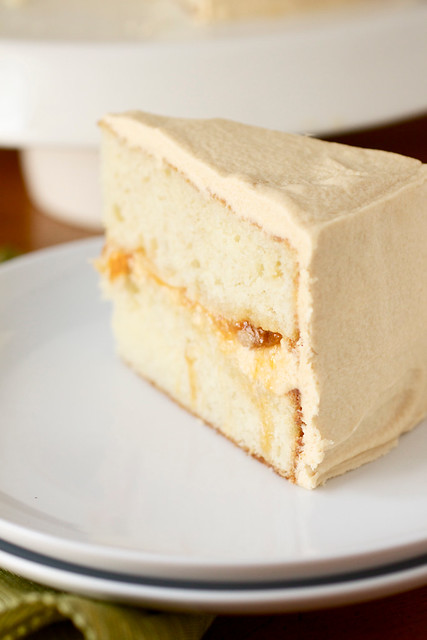 Peach Filled Cake with Dulce de Leche Buttercream Frosting ...
