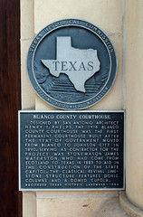 Photo of Henry Truman Phelps, Blanco County Courthouse, and James Waterston black plaque