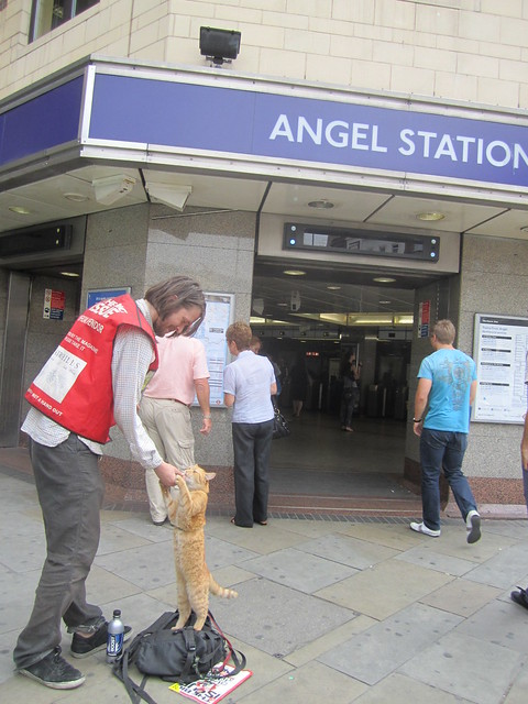 Bob the Cat outside Angel Tube