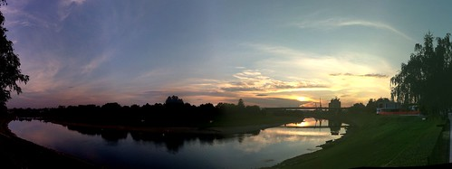 blue sunset summer sky moon clouds river croatia august kupa sisak 2011