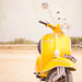 the {yellow} vespa