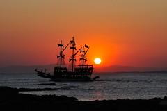 Zonsondergang bij Side, Turkije