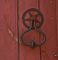 wood, red, metal, door knocker, iron, circle,