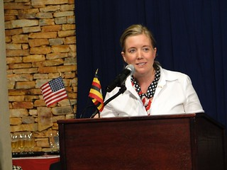 Chargé d'Affaires to the Republic of Uganda, Virginia M. Blaser delivers remarks at the 235th anniversary celebrations