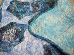 Floating Lilies - Back and front of quilt
