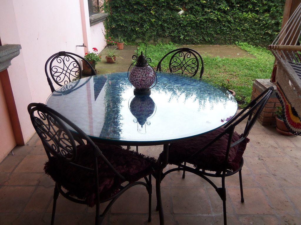 Ceramic Patio table 6 chairs ~ NOW $550.00!!!  obo  ~