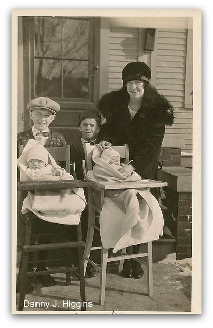 Twins In Highchairs.  January 16, 1927.