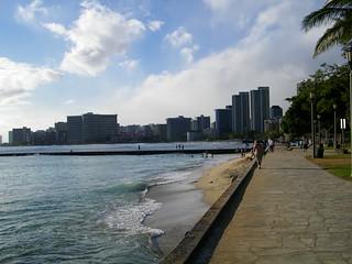 Image of Queen's Surf Beach near Honolulu. beach architecture hawaii surf pacific waikiki oahu shoreline tropical honolulu