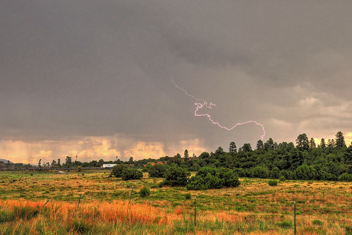 Red Monsoon Lightning in Flagstaff