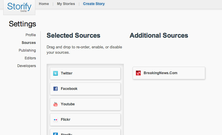 Breaking News in the Sources settings