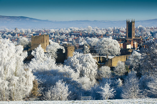 A frosty Ludlow from Whitcliffe