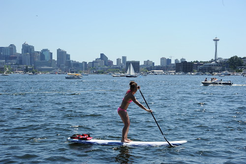 Life and art, a paddle boarder in a pink bikini on Lake Union, sailboat, pleasure craft, The Space Needle, from Gasworks Park, Seattle, Washington, USA