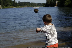 throwing a really big rock into the Willamette river