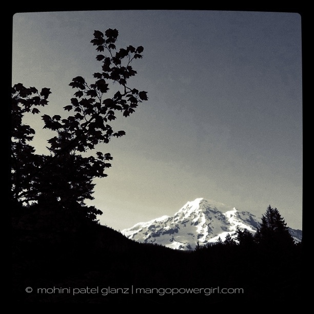 rainier from longmire at dusk