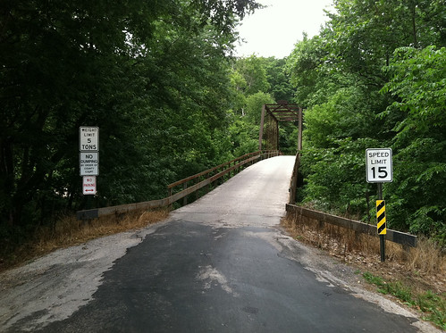 Single lane bridge over the Finley River between Linden and Ozark