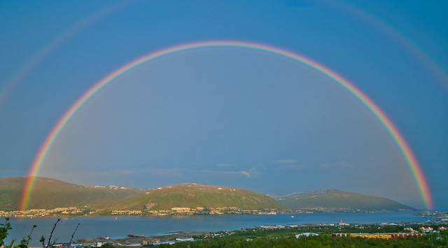 Night rainbow over Tromsø