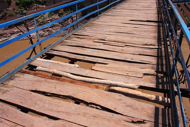 Suspension bridge broken planks, Kashmir