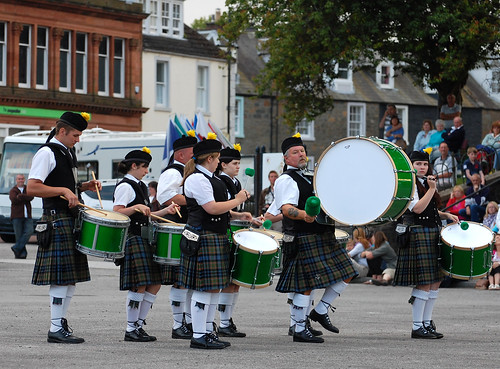 A traditional Scottish drumming band at Kirkcudbright's Tattoo.