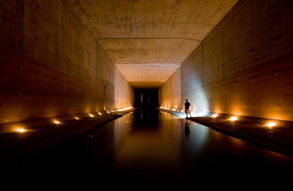 Golden lighted tunnel