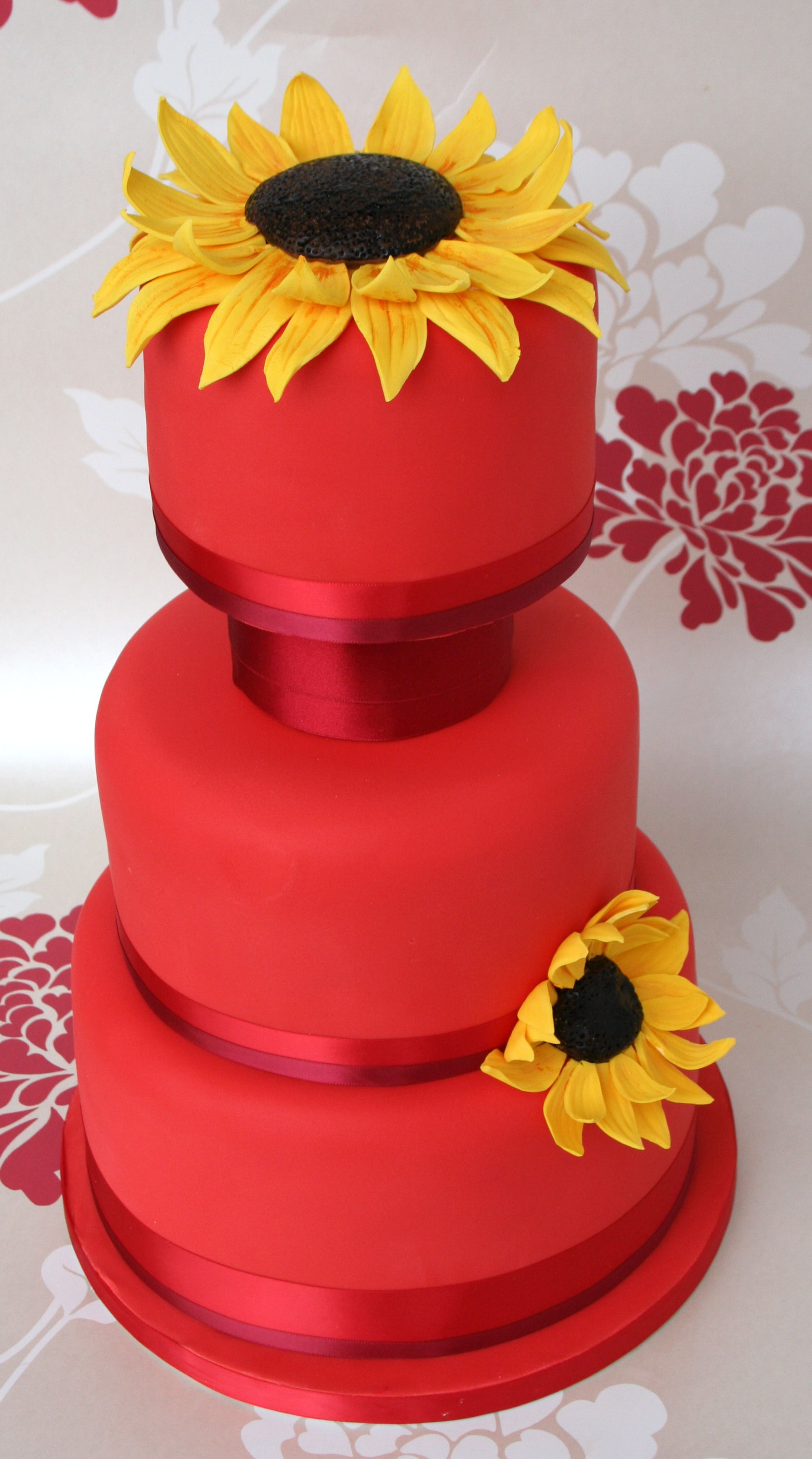 Red Sunflower Wedding Cake