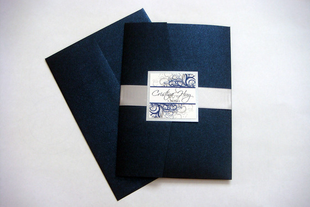 Blue Navy and Silver Wedding Invitations