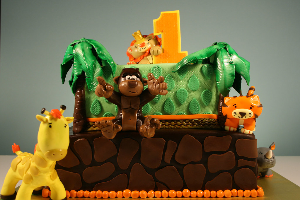 Jungle Animal Theme 1st Birthday cake - a photo on Flickriver