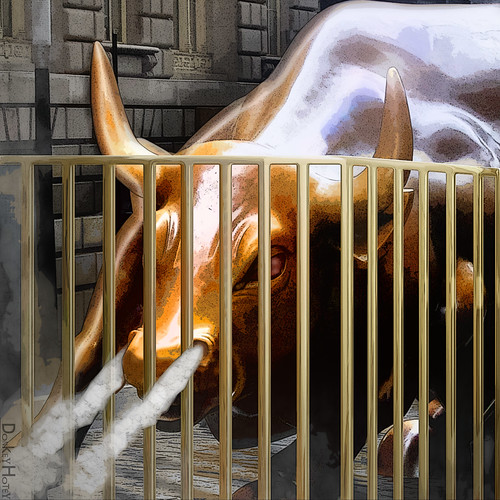 Wall Street Bull Behind Bars - Illustration