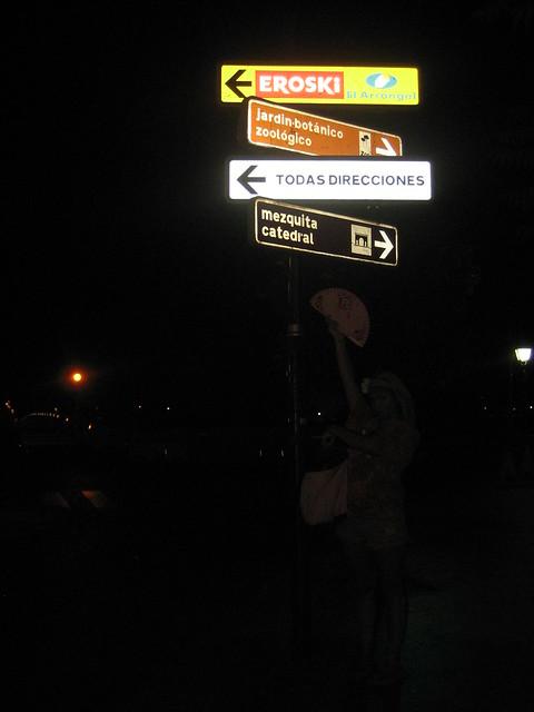 Megan making sense of the Spanish street signs. Cordoba.
