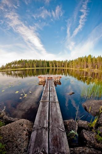 sky cloud lake nature water forest suomi finland pier fisheye float 8mm samyang nikond90